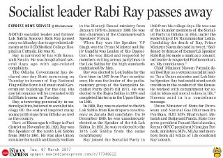 MP Baijayant 'Jay' Panda condoles death of former LS Speaker Rabi Ray The New Indian Express Page-03