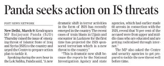 MP Baijayant 'Jay' Panda seeks action against rising IS threats (Orissa Post Page-3)