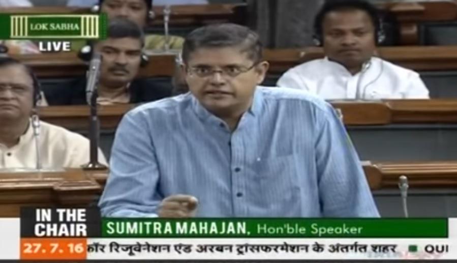 MP Baijayant Jay Panda on the floor of Parliament