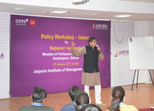 MP Baijayant Jay Panda interacts with participants at Jaipur Policy Workshop