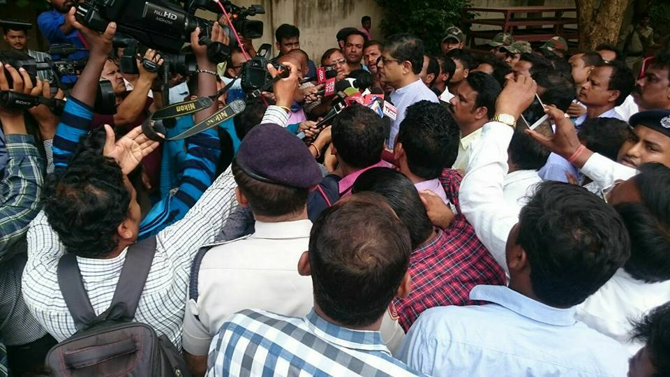 MP Baijayant Jay Panda at Party Office in Bhubaneshwar surrounded by media