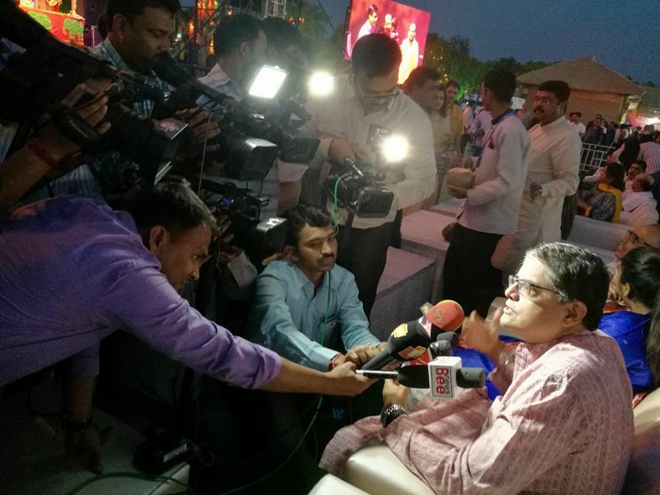 MP Baijayant Jay Panda being interviewed at Utkal Diwas