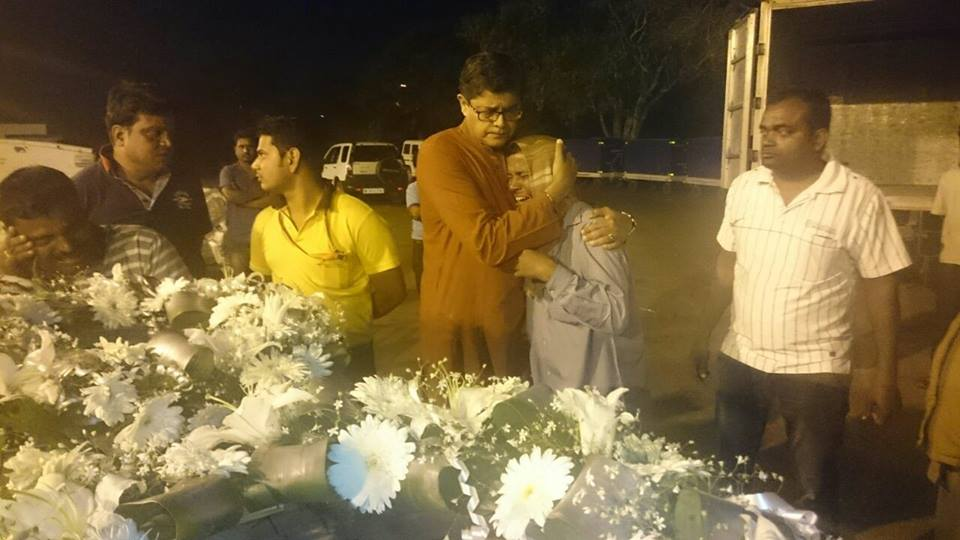 MP Baijayant Jay Panda consoling family members of constituents who died in J_K at Bhubaneshwar Airport