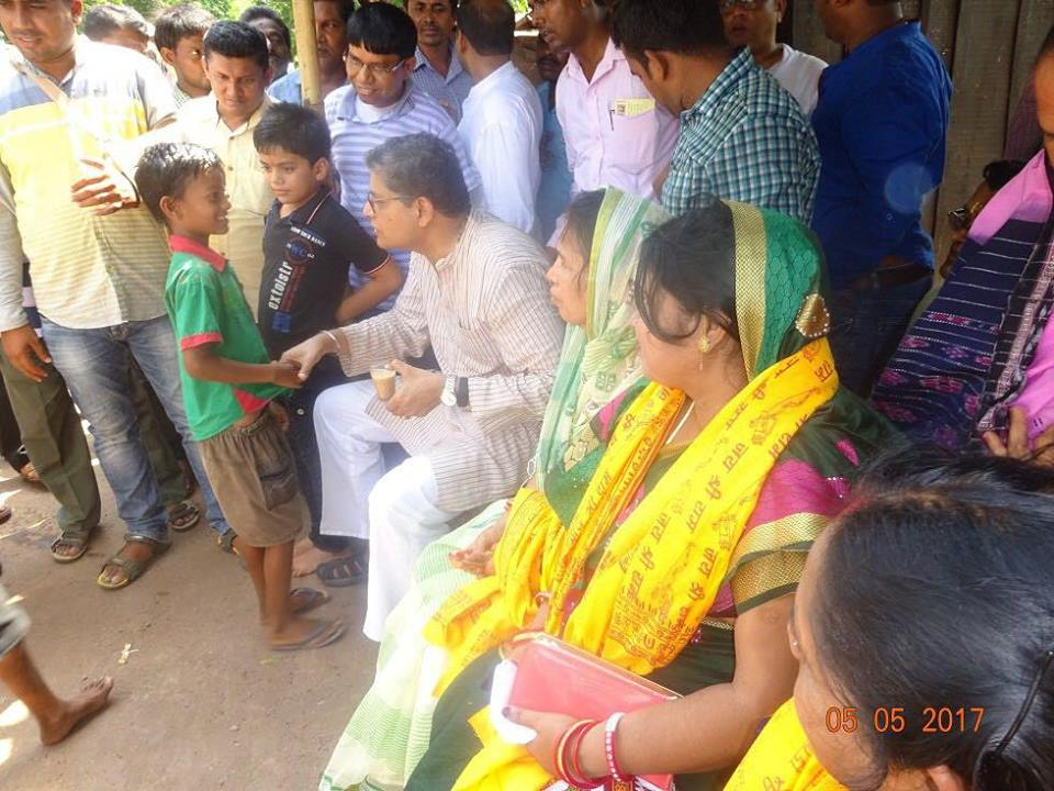 MP Baijayant Jay Panda interacting with constituents at a local dhaba