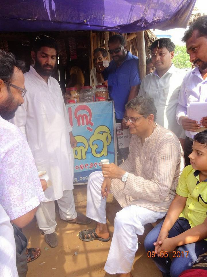 MP Baijayant Jay Panda interacting with constituents at a local tea shop in Kendrapada