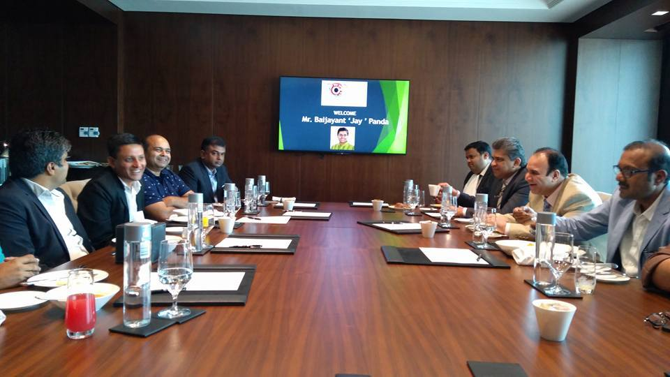 MP Baijayant Jay Panda interacting with prominent members of Odia community in Dubai