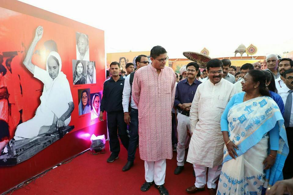 MP Baijayant Jay Panda with Union Minister Dharmendra Pradhan at Utkal Diwas