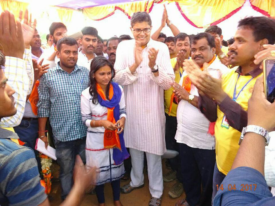 MP Baijayant Jay Panda with the newly elected youngest member of Zilla Parishad at Kendrapada