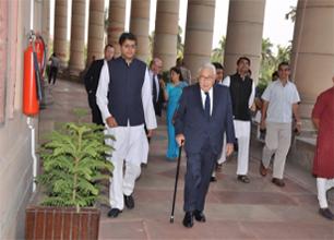 MP Baijayant Jay Panda arrives in Parliament