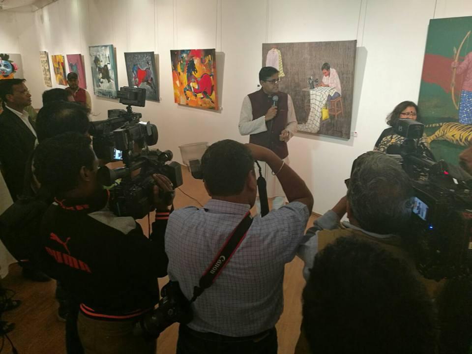 MP Baijayant Jay Panda at the inauguration of an exhibition of Odia artists at Lalit Kala Akademi in Delhi (2)