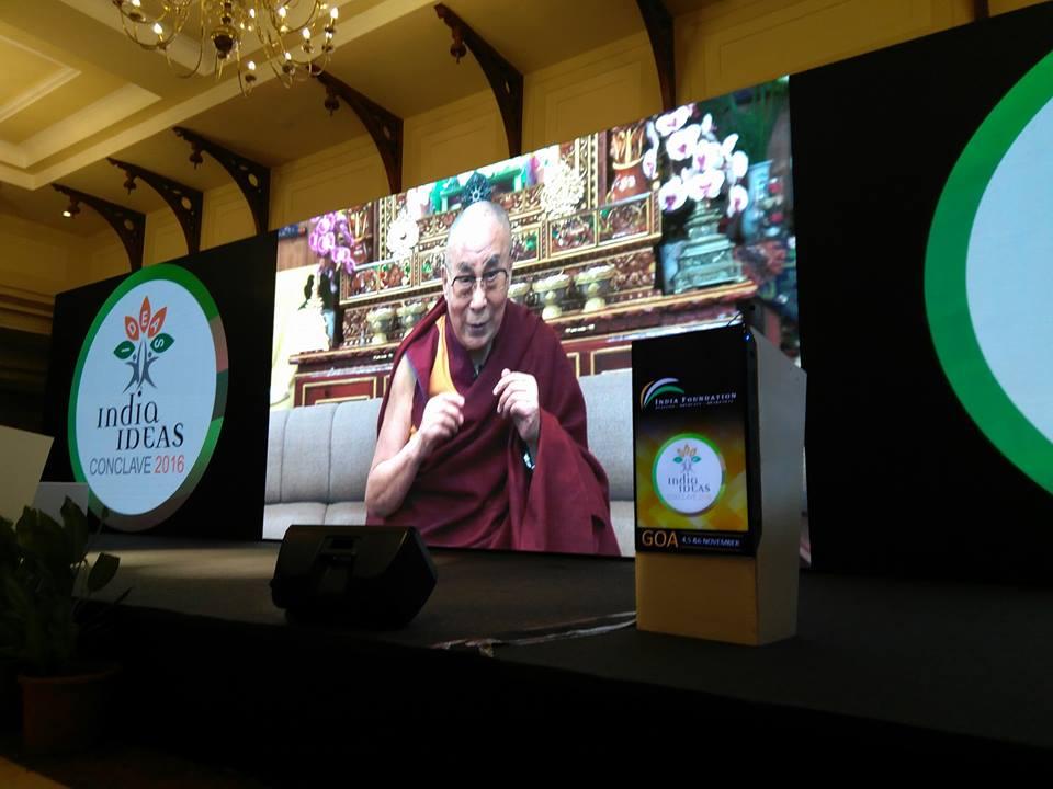 MP Baijayant Jay Panda listens to Dalai Lama at India Ideas Conclave 2016