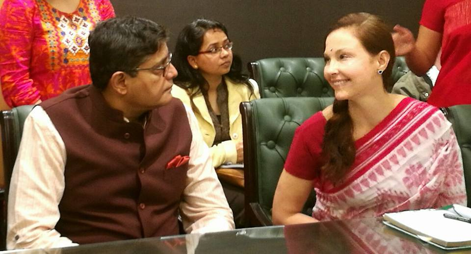 MP Baijayant Jay Panda with Hollywood Actress Ashley Judd during an event to discuss human trafficking in India