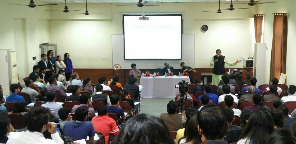 MP Baijayant Jay Panda engaging with a full audience at Delhi Policy Workshop